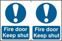 ASEC `Fire Door Keep Shut` 200mm x 300mm PVC Self Adhesive Sign 2 Per Sheet