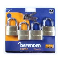 DEFENDER Brass Open Shackle Padlock 40mm KA 4 Pack