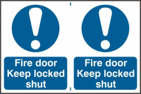 ASEC `Fire Door Keep Locked Shut` 200mm x 300mm PVC Self Adhesive Sign 2 Per Sheet