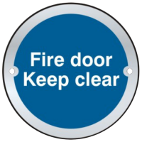 ASEC `Fire door Keep clear` Sign 75mm Stainless Steel