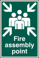ASEC `Fire Assembly Point 200mm x 300mm PVC Self Adhesive Sign 1 Per Sheet