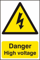 ASEC `Danger High Voltage` 200mm x 300mm PVC Self Adhesive Sign 1 Per Sheet