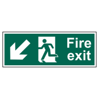 ASEC Fire Exit Arrow Direction Sign 400mm x 150mm Down/Left