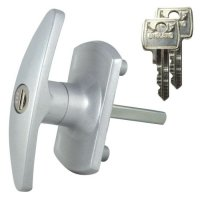 L&F 1613 Garage Door Lock SILVER 55mm x 8mm Square Spindle