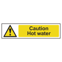 ASEC `Caution: Hot Water` Sign 200mm x 50mm 200mm x 50mm