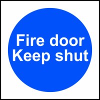 ASEC `Fire door Keep shut` Sign 100mm x 100mm 100mm x 100mm