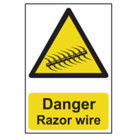 ASEC `Danger: Razor Wire` Sign 200mm x 300mm 200mm x 300mm