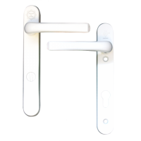MILA Kite Secure PAS24 2 Star 220mm Lever/Lever Door Furniture White - Visi