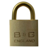 B&G Warded Brass Open Shackle Padlock - Brass Shackle 38mm KA `D4` - D102B