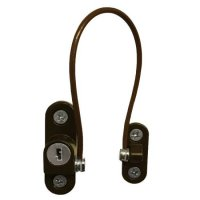 ASEC 100mm British Standard Mini Locking Cable Window Restrictor Dark Brown