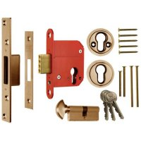 ERA 333 Fortress BS Euro Key & Turn Deadlock With Cylinder 76mm PB Boxed