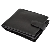 BEE-SECURE Black Leather Bifold RFID Wallet With Coin Purse With Coin Purse
