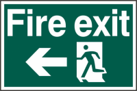 ASEC `Fire Exit` 200mm x 300mm PVC Self Adhesive Sign Left