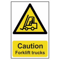 ASEC `Caution: Forklift Trucks` Sign 200mm x 300mm 200mm x 300mm