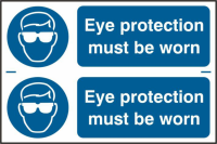 ASEC `Eye Protection Must Be Worn` 300mm x 100mm PVC Self Adhesive Sign 2 Per Sheet