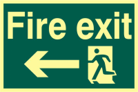 ASEC `Fire Exit` 200mm x 300mm PVC Self Adhesive Photo luminescent Sign Left