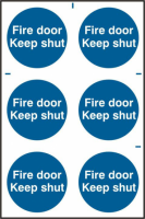 ASEC `Fire Door Keep Shut` 200mm x 300mm PVC Self Adhesive Sign 6 Per Sheet