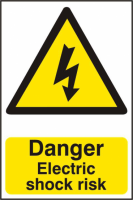 ASEC `Danger Electric Shock Risk` 200mm x 300mm PVC Self Adhesive Sign 1 Per Sheet