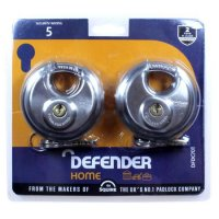 DEFENDER 70mm Discus Padlock 70mm KA Twin Pack
