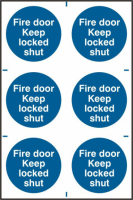 ASEC `Fire Door Keep Locked Shut` 200mm x 300mm PVC Self Adhesive Sign 6 Per Sheet