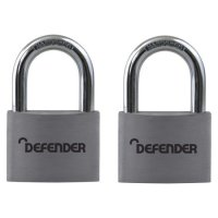 DEFENDER Aluminium Open Shackle Padlock 40mm KA Twin Pack