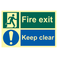 ASEC `Fire Escape Keep Clear` Sign Photoluminescent 300mm x 200mm 300mm x 200mm