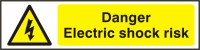 ASEC `Danger Electric Shock Risk` 200mm x 50mm PVC Self Adhesive Sign 1 Per Sheet