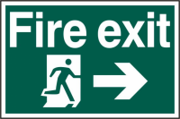 ASEC `Fire Exit` 200mm x 300mm PVC Self Adhesive Sign Right