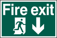 ASEC `Fire Exit` 200mm x 300mm PVC Self Adhesive Sign Down