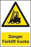 ASEC `Danger Forklift Trucks` 200mm x 300mm PVC Self Adhesive Sign 1 Per Sheet