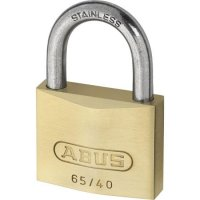 ABUS 65 Series Brass Open Stainless Steel Shackle Padlock 40mm KA (6404) 65IB/40 Boxed