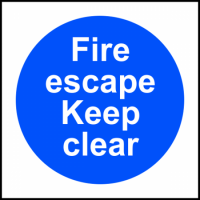 ASEC `Fire Escape Keep Clear` Sign 100mm x 100mm 100mm x 100mm