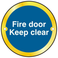 ASEC `Fire door Keep clear` Sign 75mm Polished Brass
