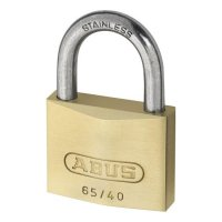 ABUS 65 Series Brass Open Stainless Steel Shackle Padlock 30mm KD 65IB/30 Boxed