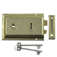 ASEC 1 Lever Double Handed Flanged Rimlock - 150mm Brass