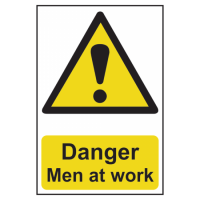 ASEC `Danger: Men at Work` Sign 200mm x 300mm 200mm x 300mm