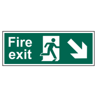 ASEC Fire Exit Arrow Direction Sign 400mm x 150mm Down/Right