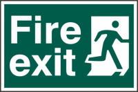 ASEC `Fire Exit` 200mm x 300mm PVC Self Adhesive Sign Front