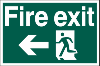 ASEC `Fire Exit` 400mm x 600mm PVC Self Adhesive Sign Left