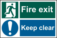 ASEC `Fire Exit Keep Clear` 200mm x 300mm PVC Self Adhesive Sign 1 Per Sheet