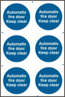 ASEC `Automatic Fire Door Keep Clear` 200mm x 300mm PVC Self Adhesive Sign 6 Per Sheet