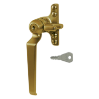 STEEL WINDOW FITTINGS B195 Key Locking Window Handle LH Antique Brass