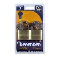 DEFENDER Brass Open Shackle Padlock 40mm KA Twin Pack