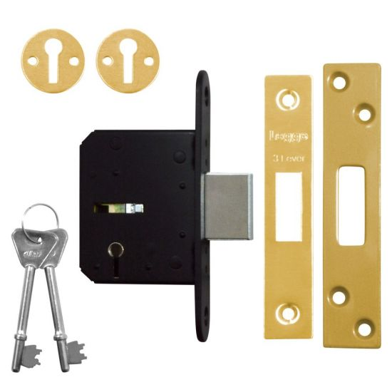 Legge B1643 3 Lever Deadlock 64mm PB KD Bagged (discontinued by Mfr.)