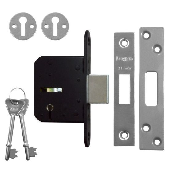 Legge B1643 3 Lever Deadlock 64mm SS KD Bagged (discontinued by Mfr.)