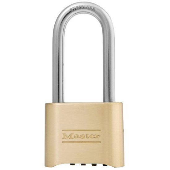 MASTER LOCK 175 Brass Open Shackle Combination Padlock KD Long Shackle Visi