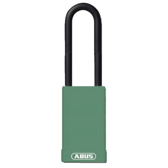ABUS 74HB Series Long Shackle Lock Out Tag Out Coloured Aluminium Padlock Green