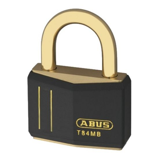 ABUS T84MB Series Brass Open Shackle Padlock 43mm Brass Shackle KD (O1040) Black T84MB/40 Boxed