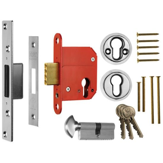 ERA 333 Fortress BS Euro Key & Turn Deadlock With Cylinder 76mm PC KD Boxed