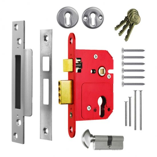 ERA 234 Fortress BS Euro Keyless Egress Key & Turn Sashlock With Cylinder 64mm PC KD Boxed